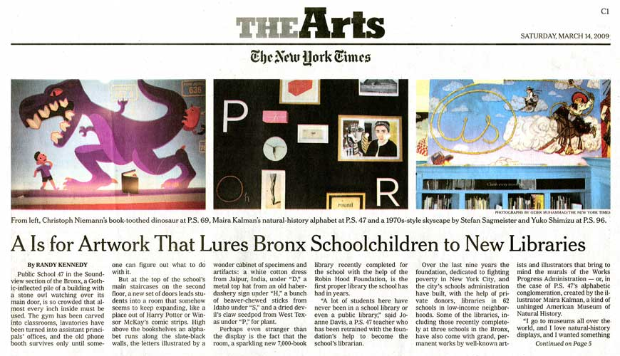 The New York Times: A Is For Artwork That Lures Bronx Schoolchildren To New Libraries