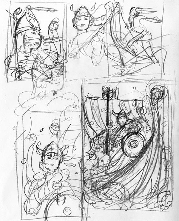 Viking Queen Plays Golf: Thumbnail Sketches