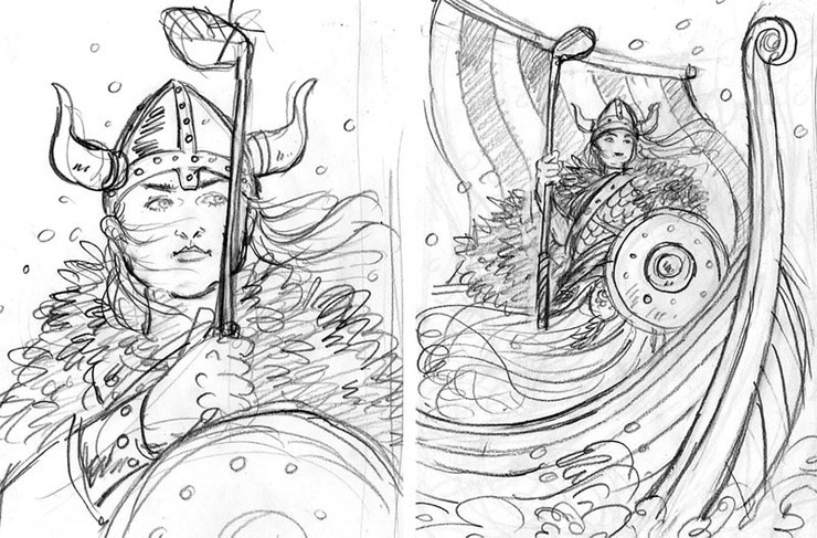 Viking Queen Plays Golf: Sketches