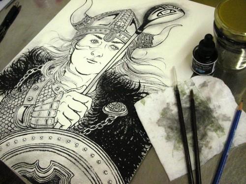Viking Queen Plays Golf: Watercolor Version