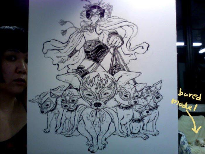 Chihuahua Superhero: Ink Drawing