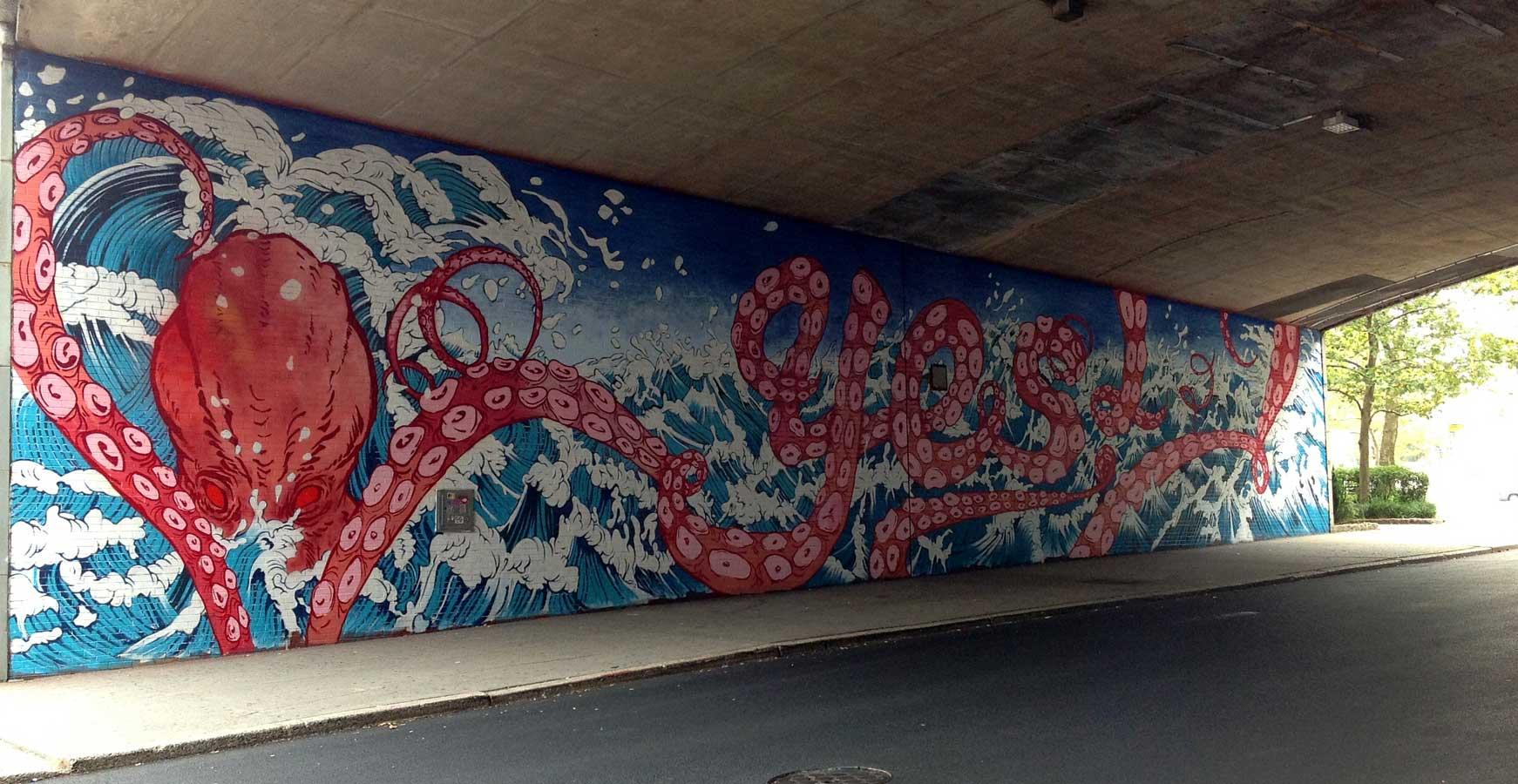 Yuko Shimizu - YES! DUMBO mural x Sagmeister - yuko shimizu stefan sagmeister sagmeister walsh wade jeffree dumbo yes