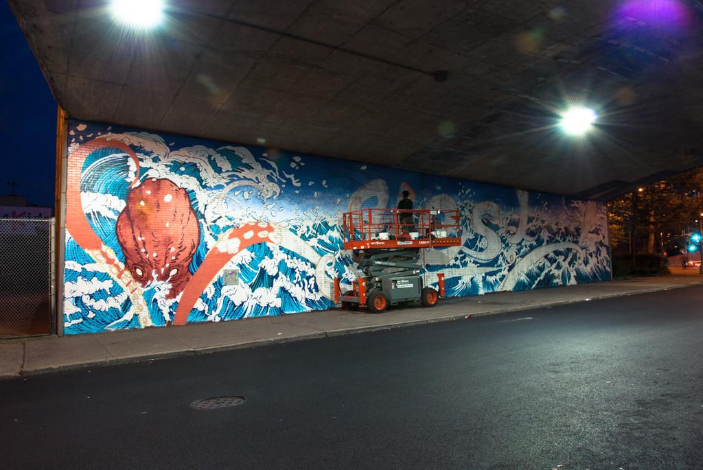 Yuko Shimizu - YES! DUMBO mural x Sagmeister - yuko shimizu stefan sagmeister sagmeister walsh wade jeffree dumbo yes daniel greenfeld